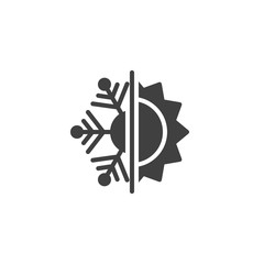 Thermal and cold resistant vector icon. Snowflake and sun filled flat sign for mobile concept and web design. Heat and frost insulation glyph icon. Symbol, logo illustration. Vector graphics