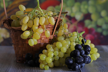 Red, black and white grapes.