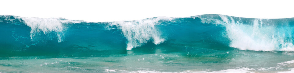 Powerful ocean waves with white foam isolated on a white background. Banner format.