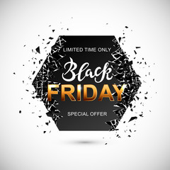 Black Friday sale banner with debris. Hand drawn Black. Great for flyer, poster, web, banner. Vector illustration.