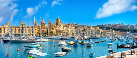 Waterfront with view of Vittoriosa city and harbour. Malta