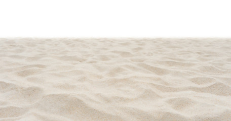 Beach sand in nature on white background.