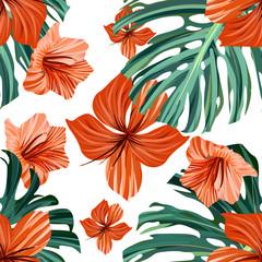 Palm beach. Tropic summer jungle leaf. Floral
