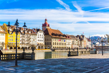 Old town buildings over Reuss river in Lucerne city, Switzerland