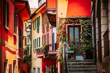 Colorful italian architecture in Bellagio town, Lombardy region, Italy