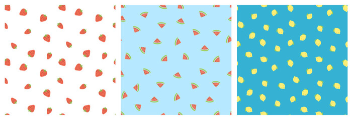 Kid's seamless pattern. Smiling strawberry, watermelon, lemon. Exotic fruit fashion print. Design elements for baby textile or clothes. Hand drawn doodle repeating delicacies. Tropical wallpaper