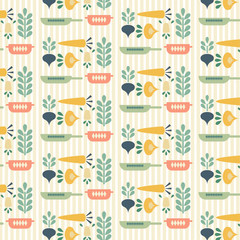 Seamless vector pattern. Colorful vegetables and frying pans on light vertically striped background.