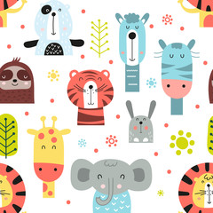 Childish seamless pattern with cute jungle animals in Scandinavian style. Vector Illustration. Kids illustration for nursery design. Great for baby clothes, greeting card, wrapping paper.