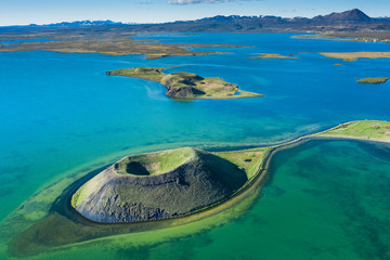 volcanic craters in Iceland aerial view from above, Myvatn lake