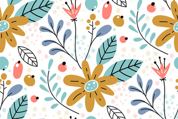 Seamless pattern with creative decorative flowers in scandinavian style.