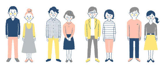 4 sets of  smiling young couples,whole body