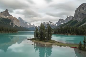 Canoeing on Maligne Lake, Alberta, Canada