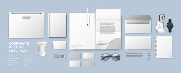 Corporate identity premium branding design. Stationery mockup vector megapack set. Template folder and A4 letter, visiting card, paper bag and envelope. Empty objects for presentation company style.
