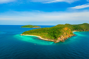 Aerial view of beautiful island with blue ocean in Sattahip, Thailand