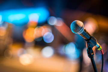 Close-up of classic microphone at concert