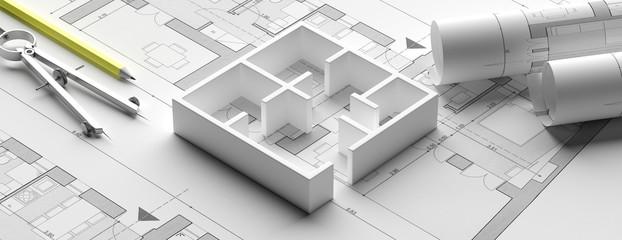 Residential building blueprint plans and house model, banner. 3d illustration