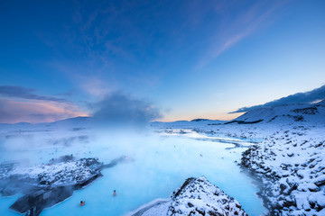 Beautiful landscape and sunset Blue lagoon hot spring spa in Iceland