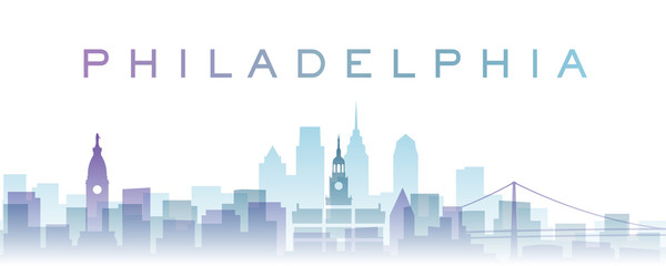 Philadelphia Transparent Layers Gradient Landmarks Skyline