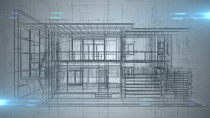 Architecture engineering house blueprint design abstract - 3D illustration rendering