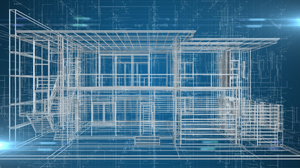 Architecture home exterior blueprint for building and construction - 3D illustration rendering