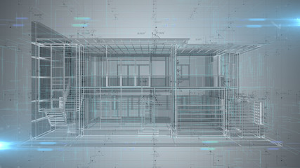 3D engineering design of house Architecture blueprint - illustration rendering