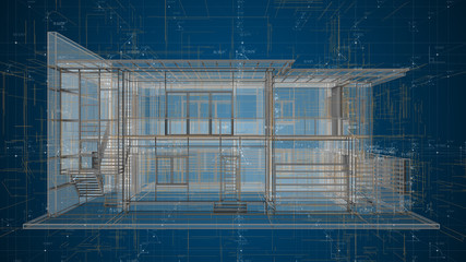 Architecture design house blueprint wireframe abstract - 3D illustration rendering