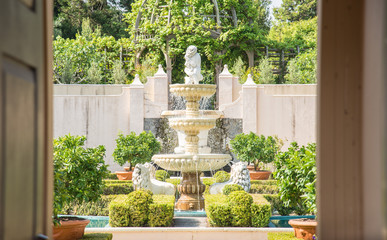The beautiful fountain of Italian Renaissance Garden an iconic famous gardens in Hamilton gardens of New Zealand.