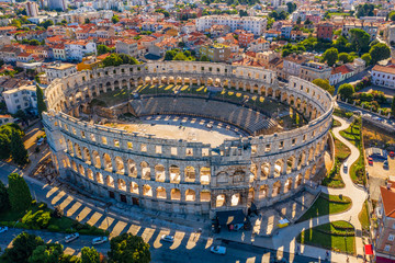 Aerial view of Pula amphitheater, Pula, Croatia
