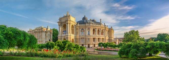 Opera House and theatre square in Odessa, UA