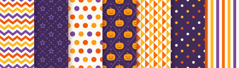 Halloween pattern. Seamless Haloween background. Vector. Texture with zigzag, star, pumpkin, polka dot, triangle, stripe. Geometric wrapping paper, textile print. Orange yellow purple. Illustration