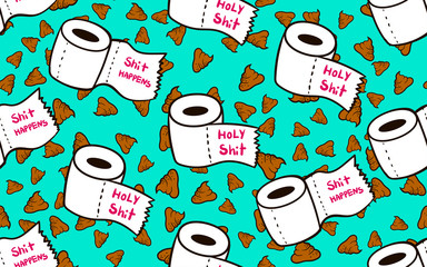 seamless pattern with toilet paper and poop