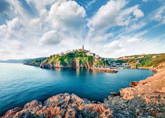 Incredible morning cityscape of Vrbnik town. Perfect summer seascape of Adriatic sea, Krk island, Kvarner bay archipelago, Croatia, Europe. Beautiful world of Mediterranean countries.
