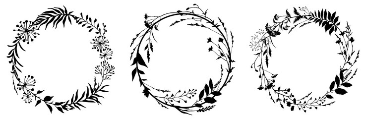Set of circle floral frame with black silhouettes of meadow herbs. Floral wreaths. Element design. Vector illustration.