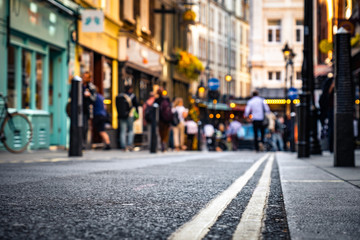 London's West End- street scene close focused low / abstract view