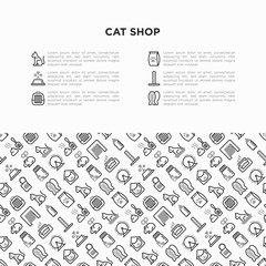 Cat shop concept with thin line icons: bags for transportation, hygiene, collars, doors, toys, feeders, scratchers, litter, shack, training. Modern vector illustration, template with copy space.