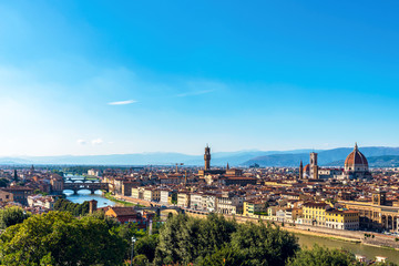 Panoramic view of Florence from Piazzale Michelangelo. Tuscany. Italy.