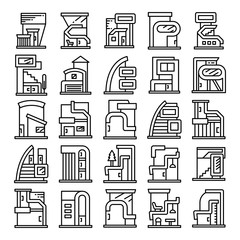 modern building and houses, modern architecture design line icons