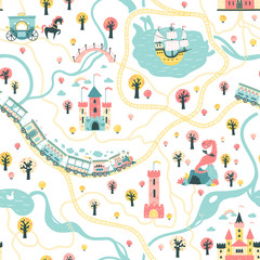 Seamless Pattern cards of the fairytale kingdom with a ship at sea, rivers, train and railroad, castles, towers, dragon cave, princess carriage. Illustration in children's cartoon Scandinavian style.
