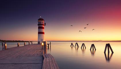 Abendrot am Leuchtturm