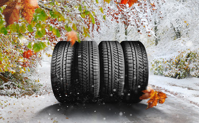 october - winter tires on the road in the snow