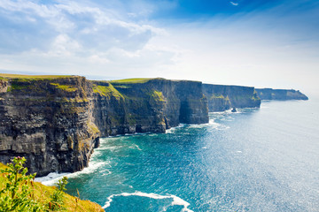 Spectacular Cliffs of Moher are sea cliffs located at the southwestern edge of the Burren region in County Clare, Ireland. Wild Atlantic way
