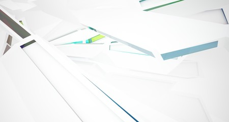 Abstract architectural glass gradient color interior of a minimalist house with large windows. 3D illustration and rendering.