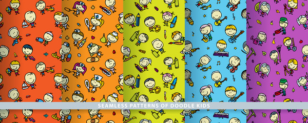 Doodle kids seamless patterns set