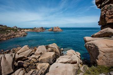 Bretonic Coast and Beach with Granite Rocks at the Cote de Granit Rose - Pink Granite Coast