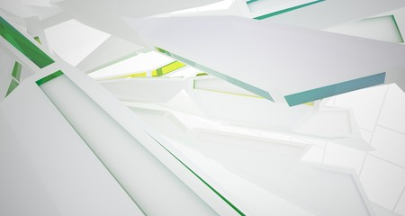 Abstract architectural white and glass gradient color interior of a minimalist house with large windows. 3D illustration and rendering.