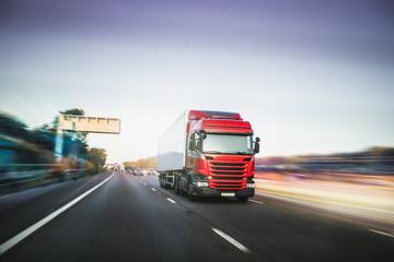 Lorry driving on motorway M1 United Kingdom