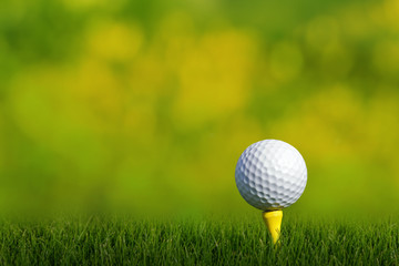 Golf ball on tee green grass