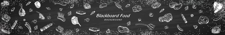 Vintage Butcher shop blackboard Cut of Beef Meat. Butchery Cow Food Chalk Board Shop. Retro Menu Restaurant poster. illustration Vector.