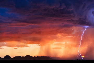 Błyskawicowa burza i zmierzchu niebo