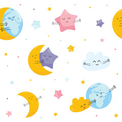 Seamless pattern with cute moon, star, cloud Earth